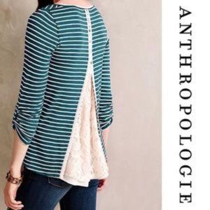 Anthro Meadow Rue Green Striped Back Lace Top